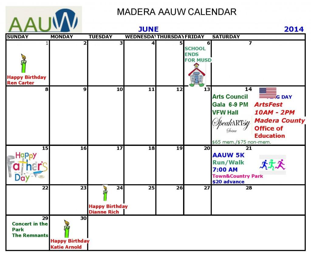 aauw calendar JUNE